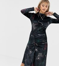 Reclaimed Vintage Inspired Midi Velvet Dress In Scribble Print And Ruched Hem Black