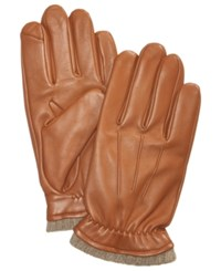 Club Room Men's Cashmere Lined Leather Gloves Created For Macy's Perfect Tan