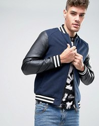 Jack And Jones Baseball Bomber Jacket Black