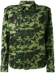 Each X Other Back Print Camouflage Military Jacket Women Cotton Xs Green