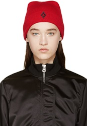 Marcelo Burlon Red Knit Cruz Beanie