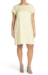 Plus Size Women's Eileen Fisher Bateau Neck Organic Linen Shift Dress Daisy