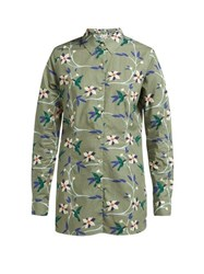 Thorsun Georgie Hummingbird Print Cotton Poplin Shirt Khaki Multi