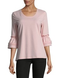Imnyc Isaac Mizrahi Scoop Neck Peplum Sleeve Knit Top Chalk