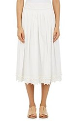 Derek Lam 10 Crosby Lace Trimmed Pleated Midi Skirt Colorless