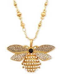 Sequin Pearly Bee Pendant Necklace