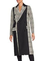 Proenza Schouler Colorblock Glen Plaid Double Breasted Coat Black White