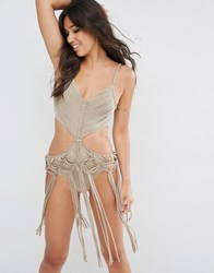 Asos Plait Macrame Fringed Cut Out Swimsuit Toffee Shiny Brown