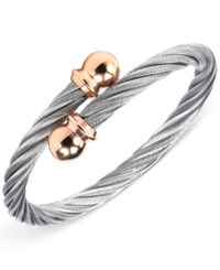 Charriol Womens Two Tone Cable Bangle Bracelet Silver Rose Gold