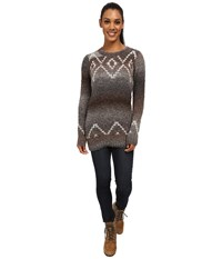Woolrich Roundtrip Fair Isle Crew Charcoal Space Dye Women's Clothing Gray