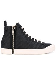 Diesel Nentish Hi Tops Men Calf Leather Leather Polyester Rubber 42 Black