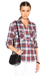 R 13 R13 Zipper Back Top In Checkeredand Plaid Red