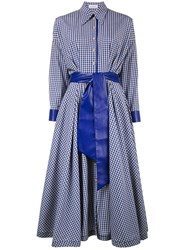 Vika Gazinskaya Gingham Belted Shirt Dress Cotton Polyester Polyurethane Blue