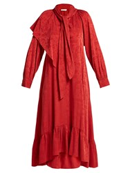 Masscob Brittany Silk Blend Jacquard Dress Red