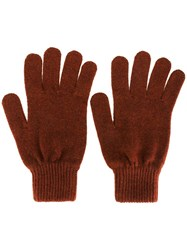 Paul Smith Cashmere Gloves Brown