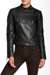 Dawn Levy Asymmetrical Zip Front Nappa Moto Genuine Leather Jacket Green