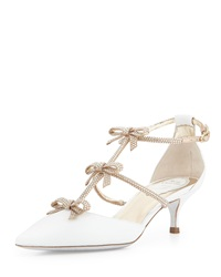 Rene Caovilla Crystal Bow Embellished Karung Low Heel Pump White Gold