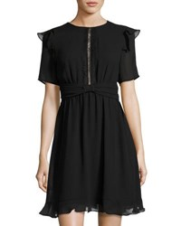 Max Studio Lace Inset Georgette Dress Black