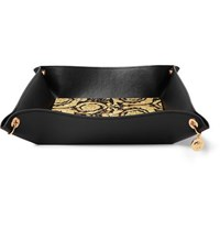 Versace Barocco Leather Desk Catchall Black