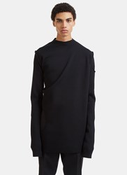 Rick Owens Subhuman Long Cut Out Sweater Black