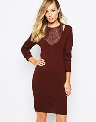Supertrash Dover Bodycon Lace Dress Red