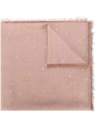 Valentino Embroidered Polka Dot Scarf Pink And Purple