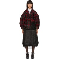 Simone Rocha Red And Black Plaid Double Breasted Coat