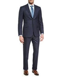 Brioni Pin Dot Striped Super 160S Wool Two Piece Suit Navy