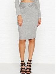 Kendall Kylie Knotted Pencil Skirt Heather Grey