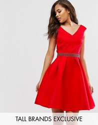 Little Mistress Tall Bardot Prom Dress With Lace Top And Embellished Waist Red