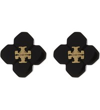 Tory Burch Tortoise Shell Stud Earrings Black Shiny Gold