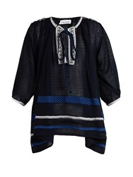 Sonia Rykiel Braid Embroidered Tie Neck Knitted Voile Top Navy Multi