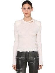 Unravel Padded Shoulders Sweater White