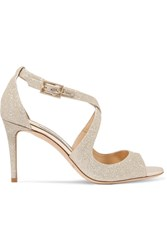 Jimmy Choo Emily Glittered Leather Sandals Platinum