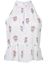 A.L.C. Peach Print Ruffled Blouse White