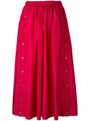 Kenzo Press Stud Midi Skirt Women Silk Polyester 40 Red
