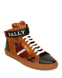 Bally Heros Snake Trim High Top Sneakers With Ankle Grip Strap Brown