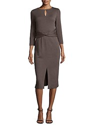 Lafayette 148 New York Wrap Front Wool Dress Porcini