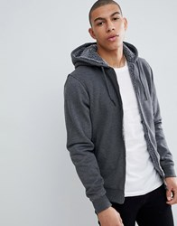 Threadbare Quilted Zip Through Hoodie With Borg Lining Grey