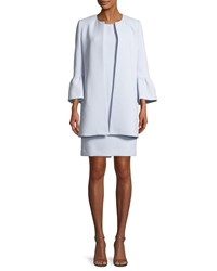 Albert Nipon Two Piece Trumpet Sleeve Coat And Mini Dress Powder Blue