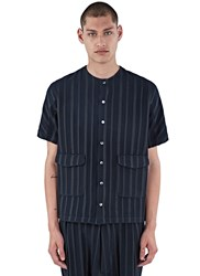 Mohsin Altmann Striped Short Sleeved Shirt Navy