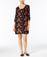 Eci Embroidered Shift Dress Warm Floral Embroidery