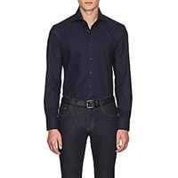 Cifonelli Checked Cotton Shirt Navy