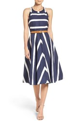 Eliza J Women's Stripe Fit And Flare Dress