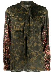 Mother Of Pearl Camouflage Floral Print Shirt Green