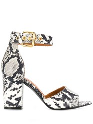 Via Roma 15 Snakeskin Print Sandals White