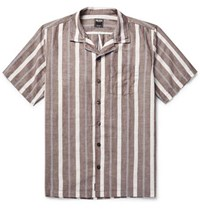 Todd Snyder Camp Collar Striped Cotton And Linen Blend Shirt Brown