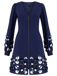 Ariella Vienna Short Sequin Zip Dress Navy