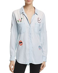 Rails Carter Chambray Patch Button Down Shirt Light Vintage Wash