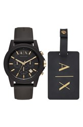 Armani Exchange Ax Boxed Chronograph Silicone Strap Watch Gift Set 45Mm